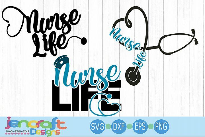 Nurse life svg Nursing RN appreciation week Bundle dxf, Eps
