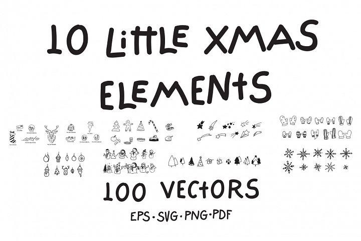10 Little Xmas Elements 100 Vectors
