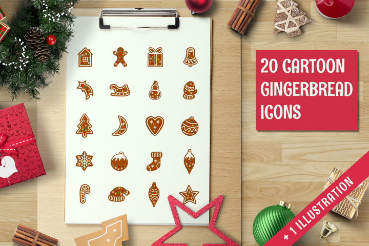 Christmas gingerbread icon set.