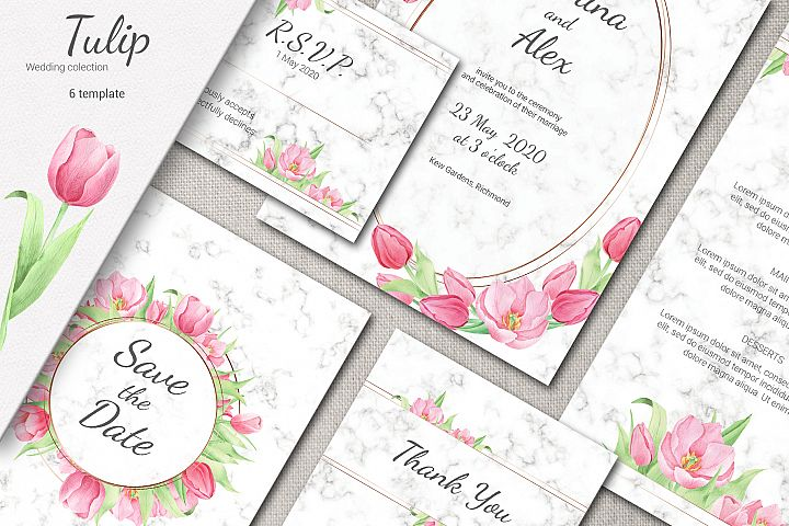 Tulip and Marble. Wedding invitation suite example image 1