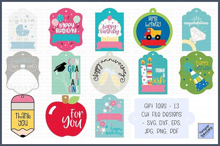 Gift Tags - SVG, Cut Files, Clipart, Printables