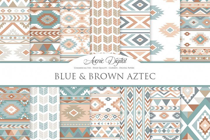 Blue and Brown Summer Boho Seamless Pattern