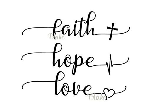 Faith Hope Love svg CUT file for silhouette cameo cricut Christian faith t-shirt heartbeat cross heart tshirt svg Greatest of these is love