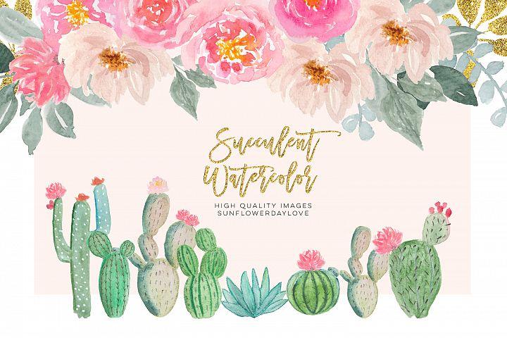 Watercolor cactus floral clip art, greenery cactus clip art