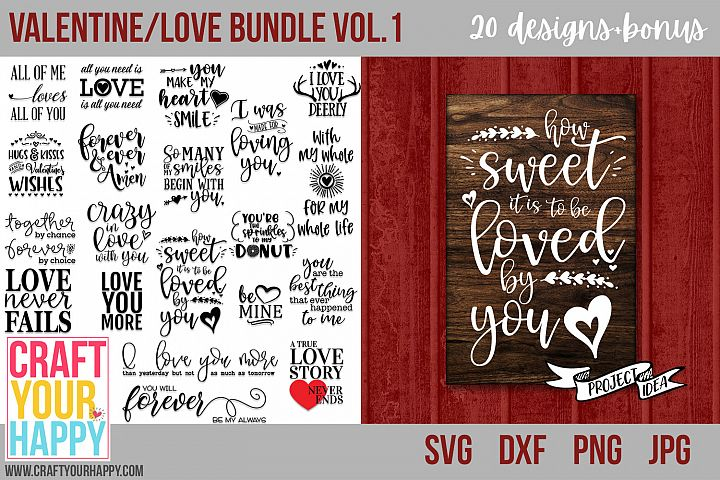 Valentine/Love Bundle Vol. 1 - Valentine SVG Cut Files