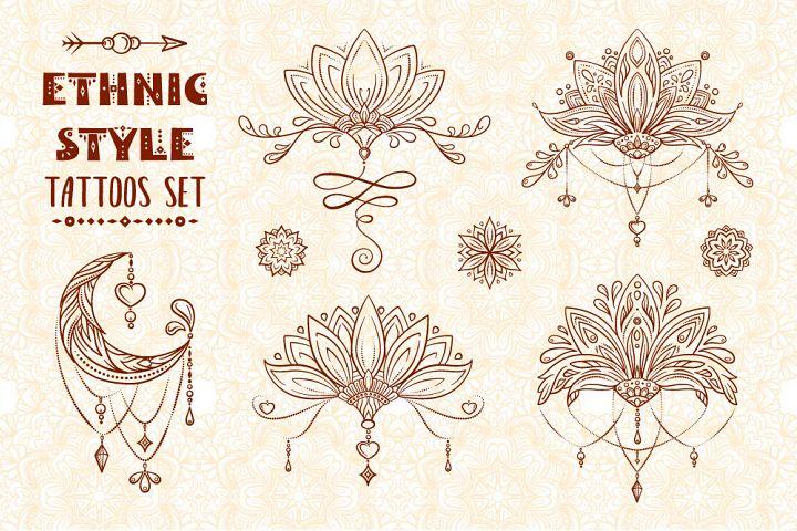 Ethnic style tatoos set