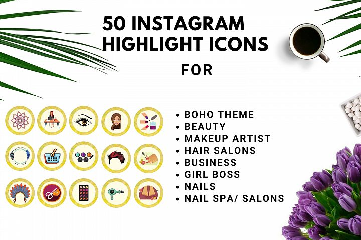 Instagram Story Highlight Icons Yellow Watercolor- Set of 50