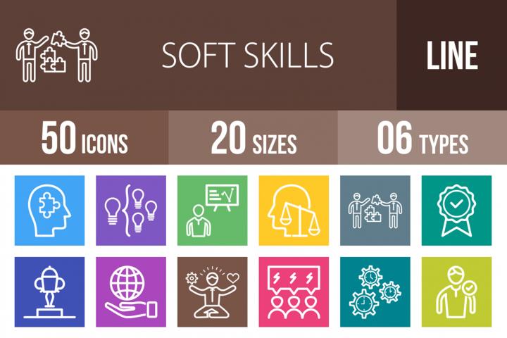 50 Soft Skills Line Multicolor B/G Icons