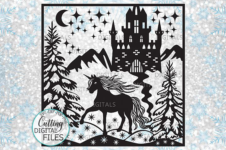 Magical Unicorn Christmas scene Glass block design svg cut