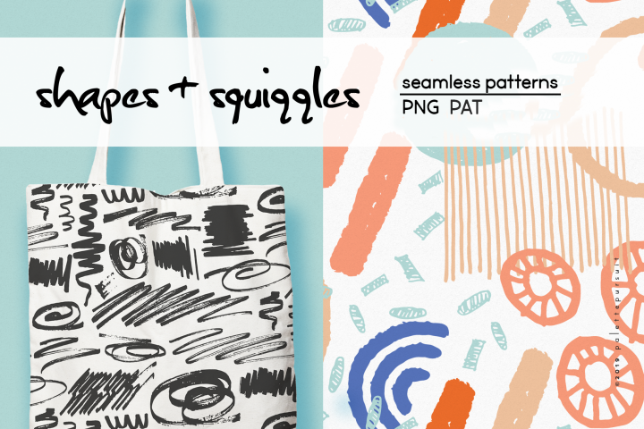 Colorful abstract shapes and squiggles, seamless patterns