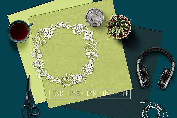 Autumn Wreath Papercut Template, Hello Fall Decor, SVG, PDF