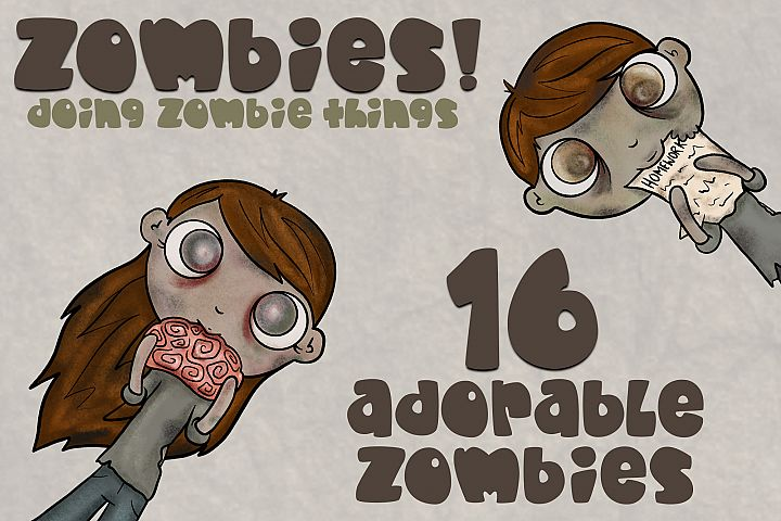 Zombie Bundle|Kid Friendly|Zombie Clipart|16 Clipart PNGS