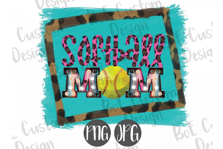 Leopard & Serape Softball Mom Clipart