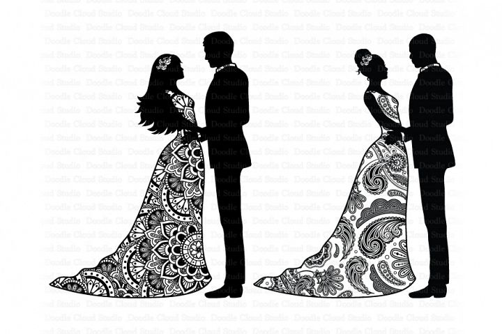 Wedding Mandala SVG, Mandala Bride and Groom SVG,