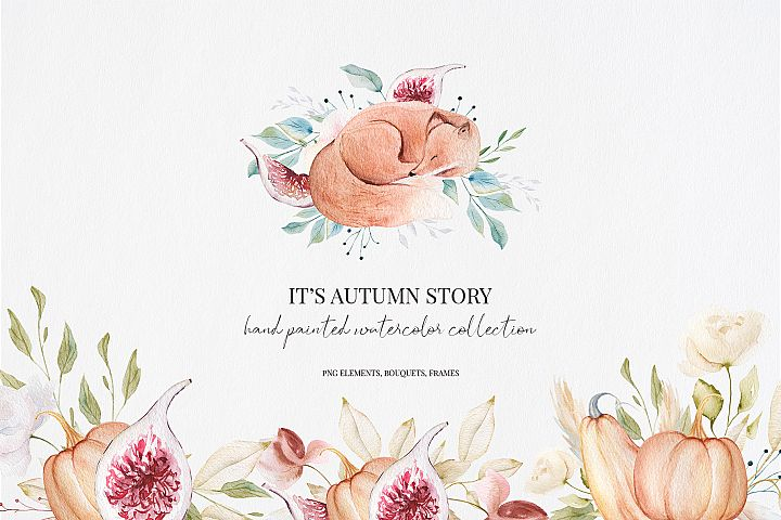 Its Autumn Story Collection, watercolor autumn fox, fall