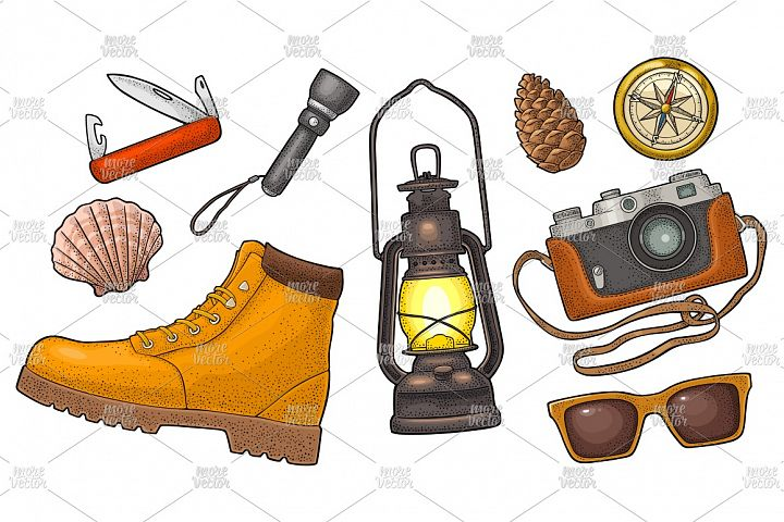 Travel set for outdoor recreation Vector engraving vintage