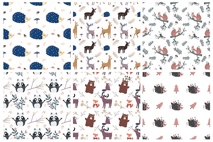 Forest animals seamless patterns