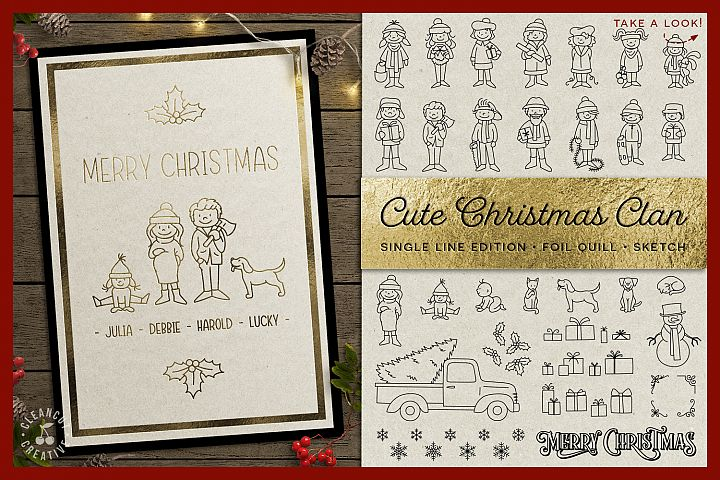Foil Quill Edition - Cute Christmas Clan - family figures