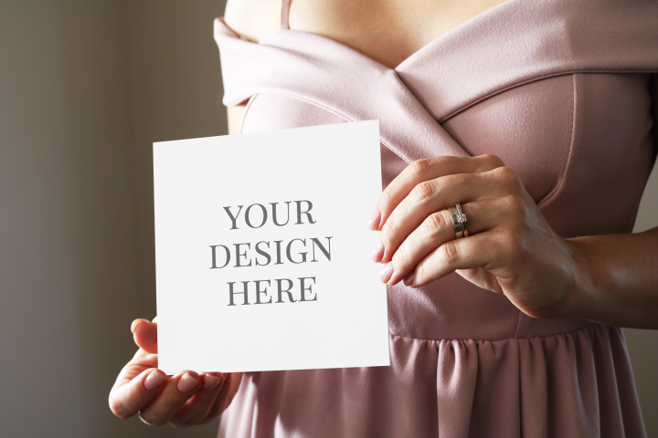 Woman Holding Card Mockup, Invitation Mockup, PinkDress