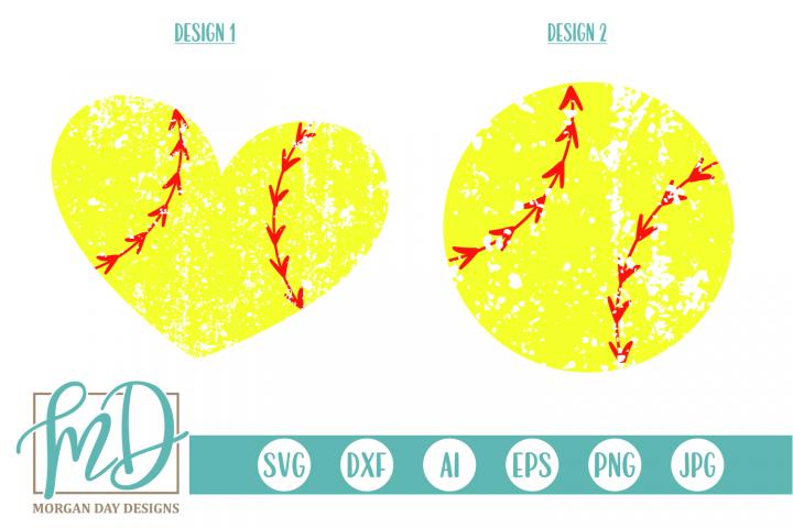 Grunge Softball - Softball Heart SVG, DXF, AI, EPS, PNG, JPG