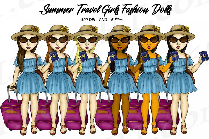 Summer Travel Clipart Girls, Fashion Doll Illustrations, PNG