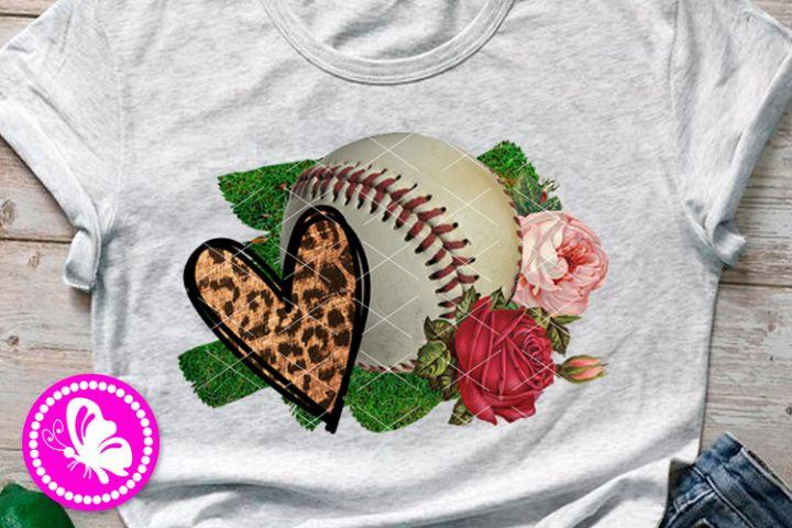 Baseball ball PNG Sublimation design downloads Flowers Heart