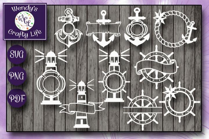Nautical Monogram Bundle - 10 each in SVG, PNG & PDF format