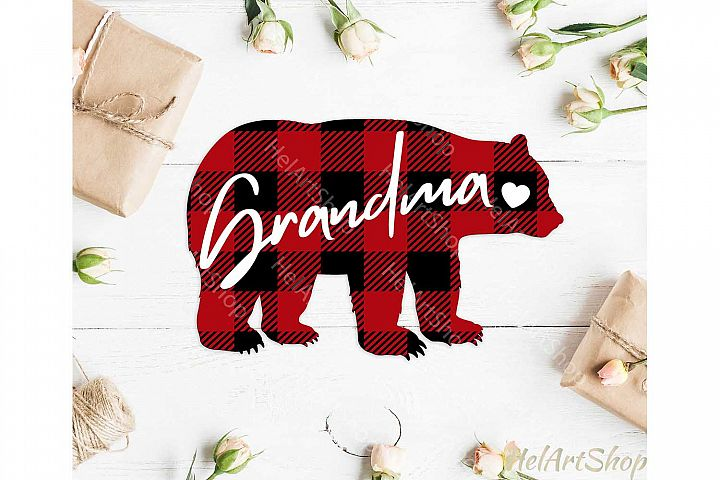 Grandma Bear svg, Buffalo plaid svg