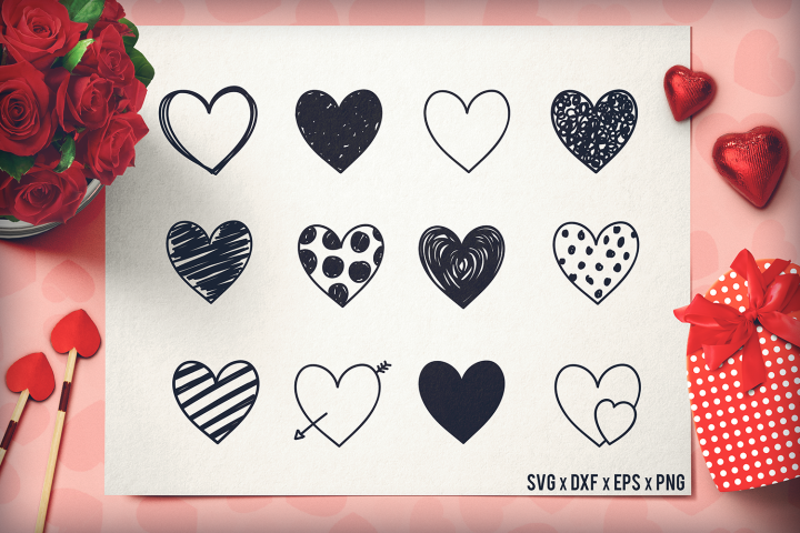 Heart SVG - Valentines Day SVG - Handdrawn Hearts Bundle