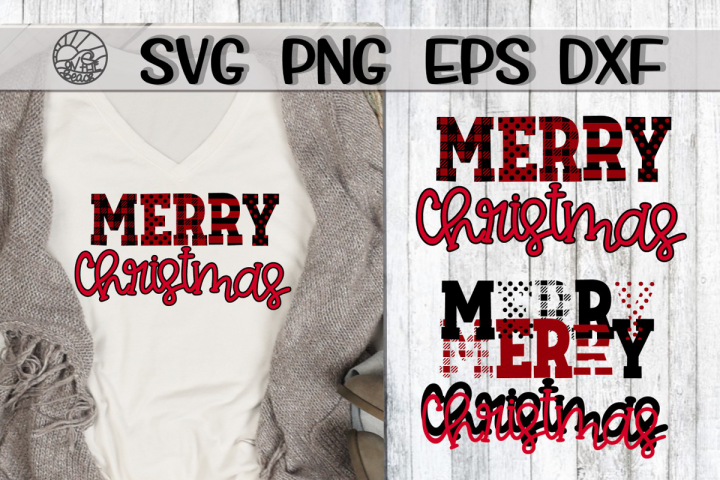 Merry Christmas - Buffalo Plaid - SVG PNG EPS DXF
