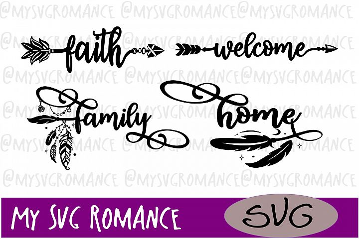 Faith Welcome Family Home Bohemian Arrows SVG DXF PNG EPS