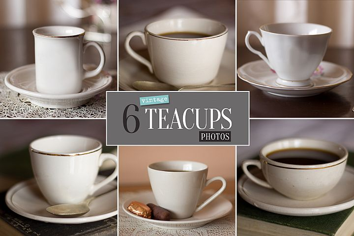 6 Vintage Teacups Photo Bundle