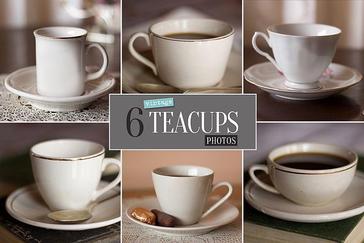 6 Vintage Teacups Photo Bundle