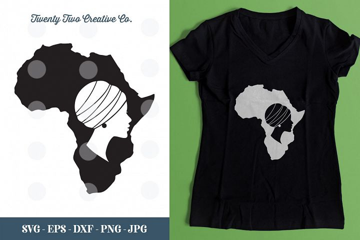 Beautiful African Woman Cut File - SVG, DXF, PNG, EPS, JPG