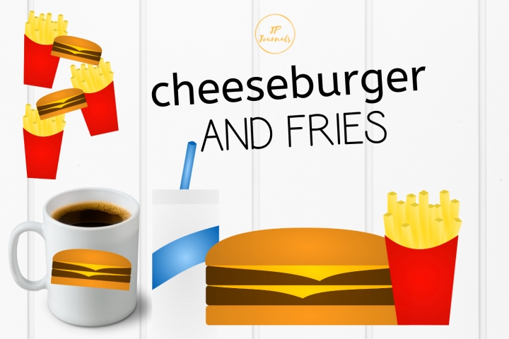Cheeseburger and Fries Clip Art