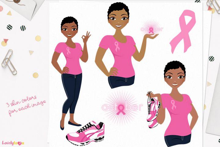 Woman breast cancer character clip art L282 Viola