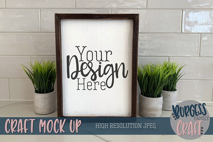 Wood sign portrait plants Craft mock up |High Res JPEG
