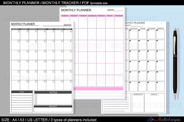 Monthly planner printable / undated monthly planner