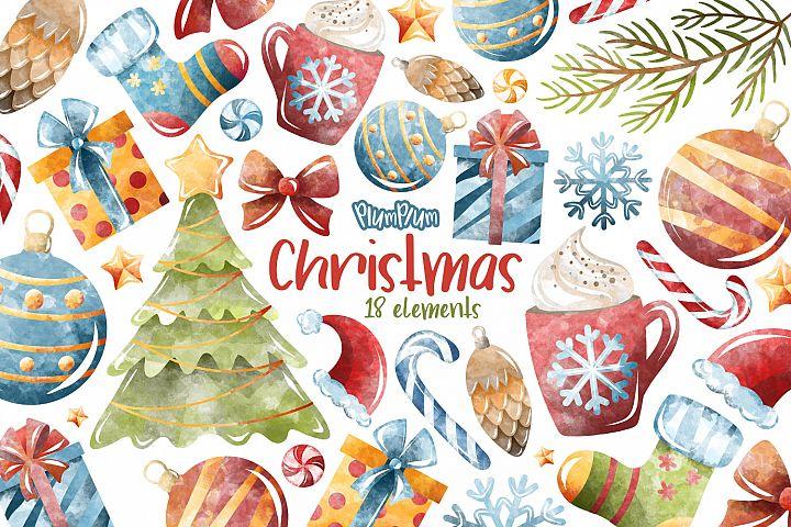 Christmas Watercolor Cliparts