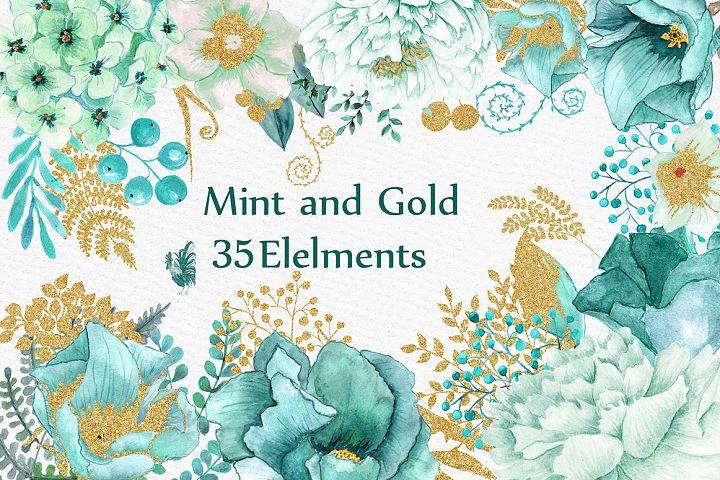 Gold Mint flowers clipart