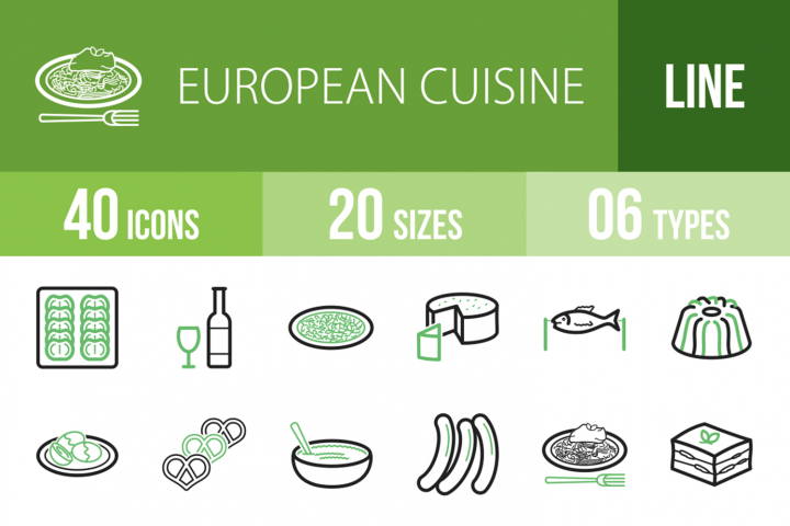 40 European Cuisine Line Green & Black Icons