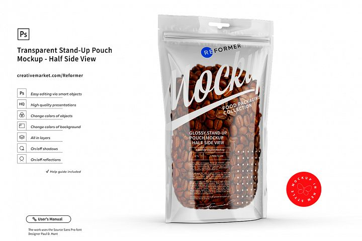 Transparent Stand-Up Pouch Mockup - Half Side View