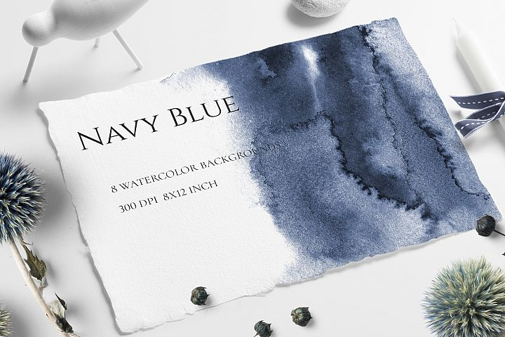 NAVY BLUE OMBRE HAND-PAINTED WATERCOLOR TEXTURES