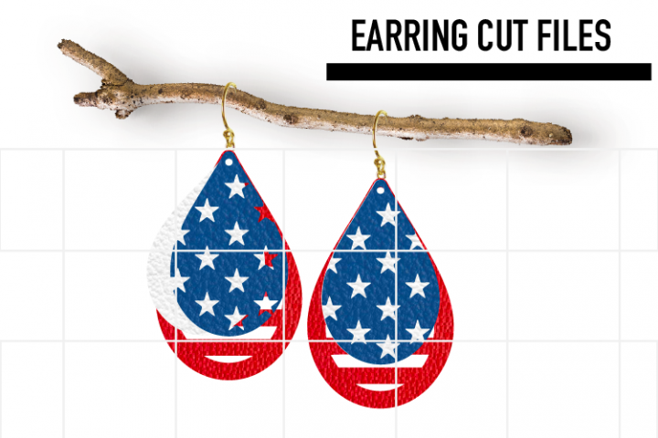 American Flag Earrings Svg / Leather / Faux / Wood / Laser C