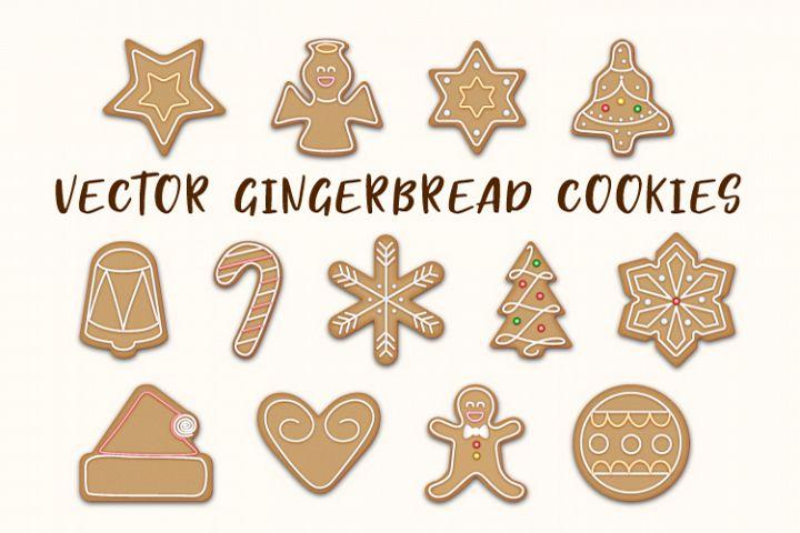 Vector Gingerbread Cookies Set