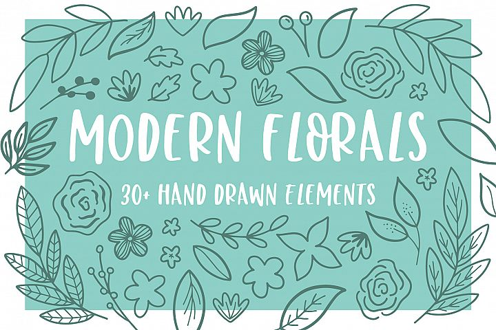 Modern Florals, Hand Drawn Elements & Illustrations