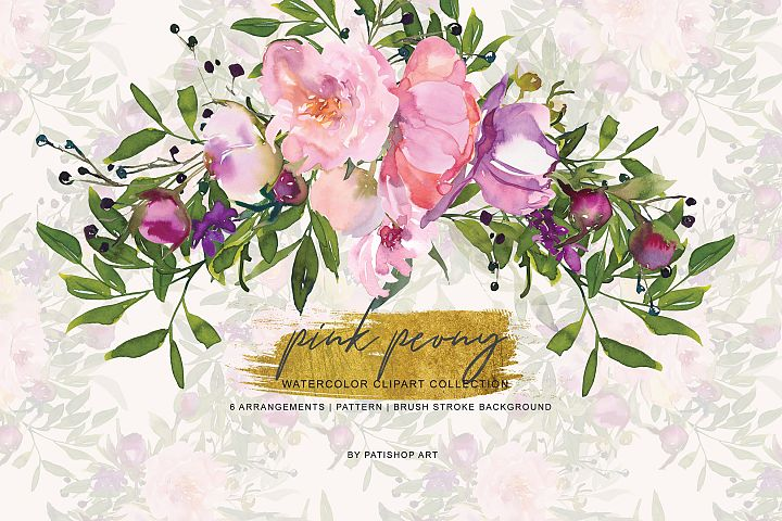 Watercolor Pink Peony Collection