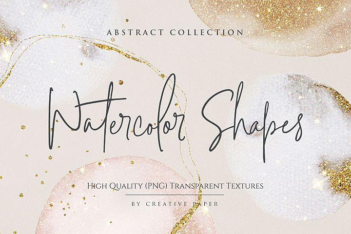 Gold Watercolor Shapes PNG Textures