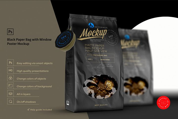 Black Paper Bag with Window Poster Mockup