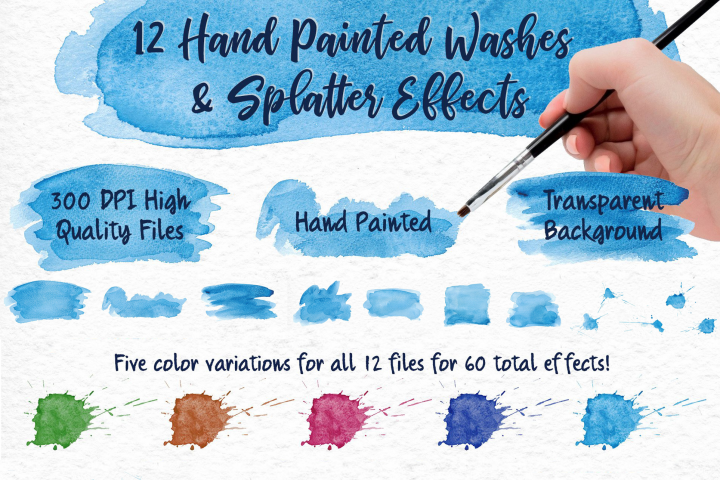 Sky Wonder, Watercolor Clip Art Set! Patterns, Backgrounds! example 3